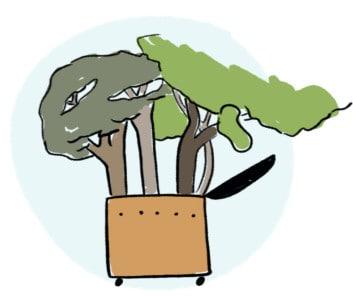 Illustration einer Wurmkiste, aus der drei Bäume wachsen. Eine Wurmkiste spart verglichen mit der thermischen Verwertung im Restmüll jährlich 67kg CO2e ein.