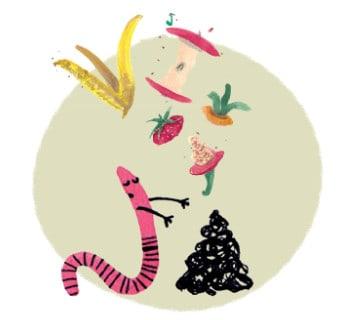 Illustration eines Wurmes, der stolz seinen Haufen präsentiert. Aus Biomüll wird wertvolle Erde.